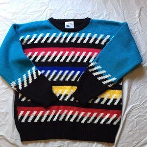 Vintage 80's Color Block Acrylic Sweater
